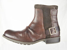 Base London Mens MAGNET Leather Bordo Brown Zip Up Boots
