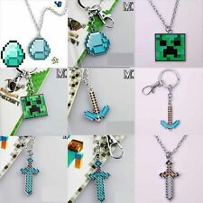 Minecraft Videogame Creeper Necklace Pendant Key Chains Keychain Free Shipping