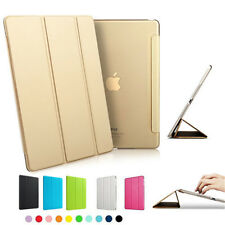Removable PU Leather Smart Cover Clear Transparent Hard Back Shell Case for iPad