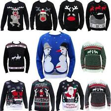 NEW MENS LADIES JUMPER CHRISTMAS REINDEER FAIRISLE RUDE FUNNY SNOWMAN SWEATER