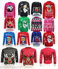 NEW UNISEX KIDS KNITTED SNOW FLAKES REINDEER XMAS CHRISTMAS JUMPER OLAF TOP 3-14