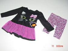 NWT Infant Girl 2 pc Cheetah Kitty Cat Outfit Dress Pants Pink Black Glitter