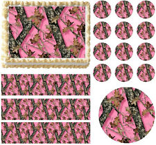 Pink MOSSY OAK BREAK UP Pink Camo Print Edible Cake Topper Image - All Sizes!
