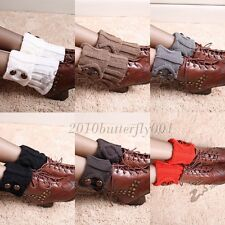 Women Winter Leg Warmers Socks Button Crochet Knit Boot Socks Toppers Cuffs,New