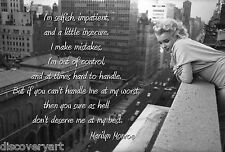 Marilyn Monroe Quote Multi Size Canvas Wall Art Poster Print Retro Girl New York