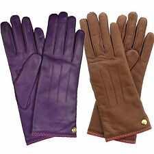 New Coach Women's Cashmere Lined Soft Leather Winter Gloves Plum Brown 6.5