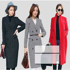 2014 Womens korean winter wool coat double-breasted polo collar slim long jacket