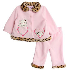 Young Hearts Baby Girls' 2 Piece Pink Leopard Print Polar Fleece Pants Set