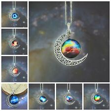 Stylish Women Galaxy Universe Crescent Moon Glass Cabochon Pendant Necklace Hot