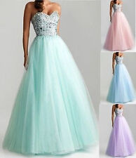 New Beaded Bridesmaid Dresses Long Prom Party Formal Evening Gowns Size 2+4+6+8+