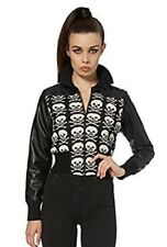 Ladies Black & White Knitted Skulls Zip Up Faux Leather Jacket Goth Punk Emo