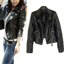 New PU Soft Leather Vintage Women Slim Biker Motorcycle Zipper Coat Jacket Black