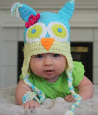 HANDMADE CROCHET KNIT BABY & KID HATS-OWL WITH FLOWER-BLUE/YELLOW-SIZE 0-8 YEARS