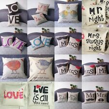 Lovers Throw Sofa Home Decor Pillow Case Cotton Linen Cushion Cover Valentines