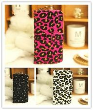 Bling Villus Leopard Book Pouch Flip PU Leather Case Cover For MOBILE PHONES 3
