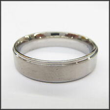 Personalized Stainless Steel Stamped High Polished Silver Edged Ring 8mm