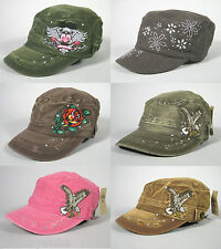 NEW Military Hats Fashion Universal Size Caps C.C. Collection NWT 100% Cotton