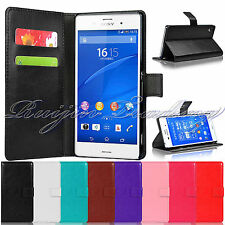 PU Leather Wallet Book Flip Phone Case Cover For Sony Xperia Z3