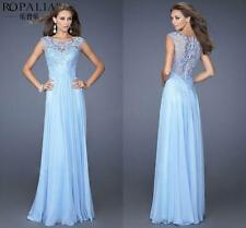 Graceful Womens Blue Embroidery Lace Back Formal Evening Party Long Dress US6-10