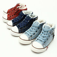 Kids Boy Girl High Top Athletic Sports Lace up Zipper Canvas Sneakers Flat Shoes