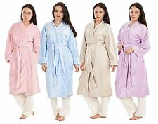 Ladies Dressing Gown Brown Bath Robe Fleece Lilac Plain Blue Womens Pink