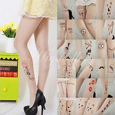 Tattoo Pattern Printed Transparent Sheer Pantyhose Slim Sexy Stockings New