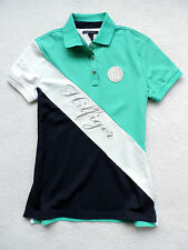 NWT Womens Tommy Hilfiger Navy, Green, Short Sleeve, Sash Pieced Polo