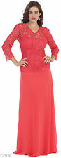 NEW 3/4 SLEEVE MOTHER OF THE BRIDE GROOM DRESS FORMAL EVENING GOWN AND PLUS SIZE