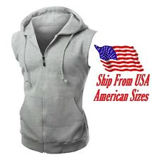 New Men's Gray Vest Zipper Hoodie Sweatshirt Biker Gym MMA Boxing Workout Beast