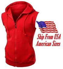 New Men's Red Vest Zipper Hoodie Sweatshirt Biker Gym MMA Boxing Workout Beast