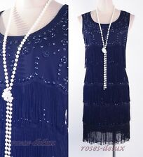 Gatsby 1920's Flapper Dress Black Party Fringe Beads Charleston Deco  RD 3260