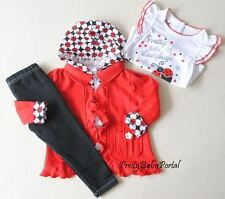 NEW GIRLS Baby Toddler Clothes 3piece suit(T-shirt+RED Jacket+Pants)