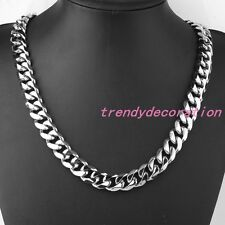 """8""""-36"""" 14mm High Polished Men's Cuban Curb Link Necklace Stainless steel Jewelry"""
