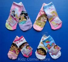 Girls 2-Pair Pack Disney Character Socks Jasmine Belle  Aurora Dora The Explorer