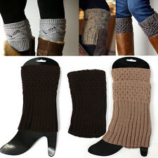 Women Crochet Knit Boot toppers Leg Warmers Socks Cuffs Knee High Long LEGGING