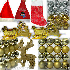 Christmas Tree Baubles Glitter Shatterproof Xmas Decorations Balls & Collection