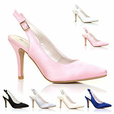 NEW WOMENS SATIN MID HI HEEL BRIDAL WEDDING PROM PARTY SLING BACK SHOES SIZE'S