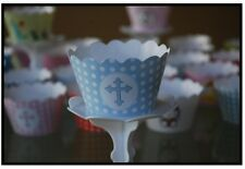 """12 Boys Bday Party """"HOLLY CROSS-BLUE"""" Cupcake Wrappers-WORLDWIDE FREE SHIPPING"""