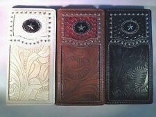 Men Women Western Rodeo Wallet Star Tooled Stud Checkbook Pick Color