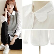 Women Fashion Korea White Wave Lapel Loose Cotton Shirt Casual Blouse Tops S-L