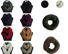 Fashion Solid Color Winter Neck Warmer Infinity Circle Knitted Cowl Loop Scarf