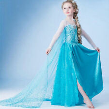 Frozen Elsa Princesse Fille Costume Robe Party Beaded Shawl Dress Cosplay Gown&*