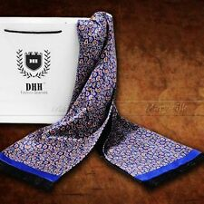 Perfect Gifts__ Mens 100%  Mulberry Silk Long Scarf/Cravat Blue Black