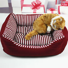 Pet Bed Soft Warm Dog Cat Kennel Striped Canvas Pad House Cozy Beds Puppy Cotton