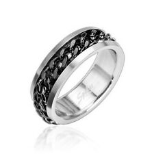 316L STAINLESS STEEL SPINNER/WORRY BLACK CHAIN RING9-15
