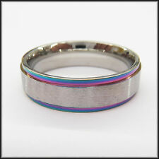 "Personalized Stainless Steel Stamped Rainbow Edged Ring 6mm, ""Handmade"""