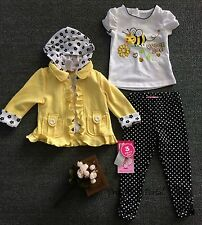 NEW GIRLS Baby Toddler Clothes 3piece suit(T-shirt+Yellow Jacket+Pants)