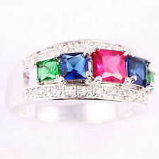 Size 6~9 Jewelry Woman's 2CT Ruby Sapphire Emerald 10KT White Gold Filled Ring