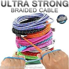 STRONG BRAIDED USB DATA SYNC CHARGER CABLE LEAD for iPhone 5 5S 5C 6 iPad 4 Mini