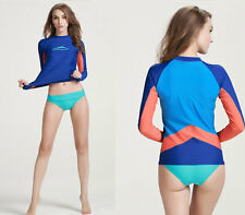 Womens Long Sleeve  Rash guard Sun Shirts Uv Surf Swim Top Lycra Swimwear